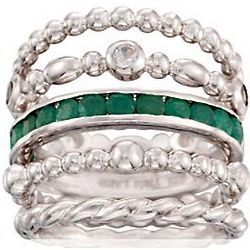 White Topaz and Emerald Stacking Rings in Sterling Silver