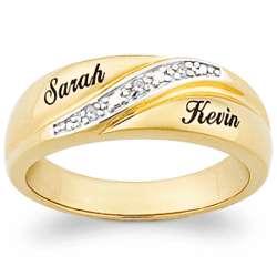 10K Gold Men's Engraved Name Diamond Wedding Band