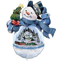 Snowman Ornament with Home and Moving Train