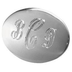 Silver-Tone Monogrammed Oval Pin