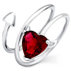 Devilish Heart Ruby CZ Sterling Silver Ring