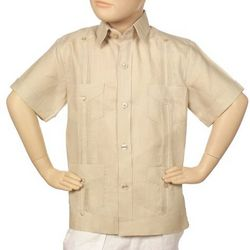 Boy's Linen Natural Guayabera