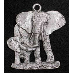 Elephant Mother and Baby Pewter Ornament
