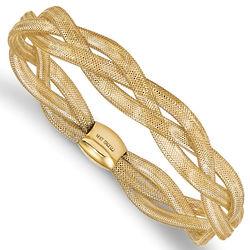 14K Gold Triple-Strand Italian Stretch Bangle Bracelet