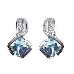 Checkercut Aquamarine & Diamond Earrings