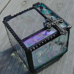 Stained Glass Keepsake Box with Leaded Cross