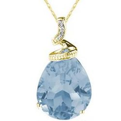 Pear Shaped Aquamarine & Diamond Pendant in 10K Yellow Gold