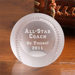 Personalized All Star Engraved Crystal Baseball
