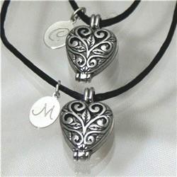 Engraved Silver Filigree Heart Locket Set