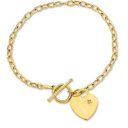 14k Yellow Gold Toggle Heart Bracelet with Diamond Accent