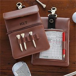 Personalized Leather Clip-On Golf Accessory Bag