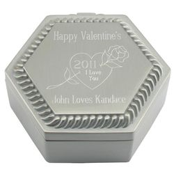 Engravable Pewter Finish Hexagon Box with Rose