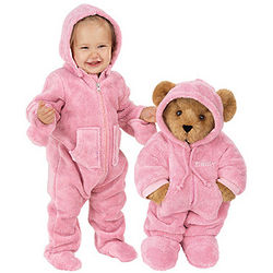 "15"" Hoodie-Footie Teddy Bear and Pink Hoodie-Footie for Infant"