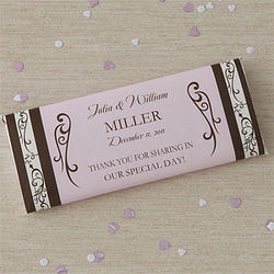 Personalized Filigree Wedding Favor Candy Bar Wrappers