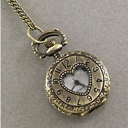 Antique Brass Watch Locket Necklace with Heart