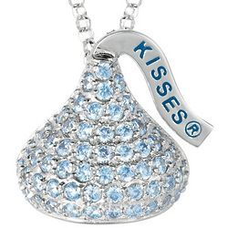 Sterling Silver March Birthstone Hershey's Kiss Necklace