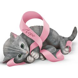 Breast Cancer Support Kitten Figurine: Paws For Hope