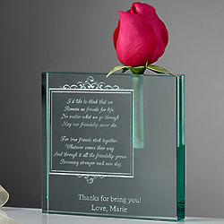 Personalized Friendship In Bloom Glass Bud Vase