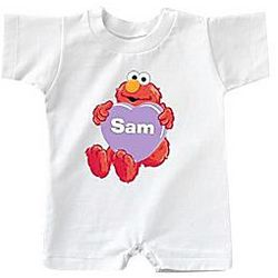 Personalized Sesame Character Valentine's Day T-Romper