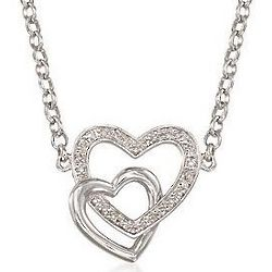 Diamond Hearts Sterling Silver Necklace