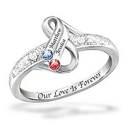 Infinite Love Personalized Couple's Birthstone Ring