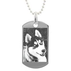 Custom Photo Small Sterling Silver Dog Tag