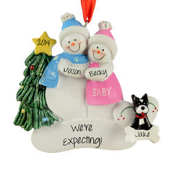 Personalized Expecting Snow Couple with Dog Ornament