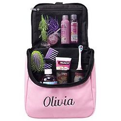 Personalized Pink Hanging Travel Organizer