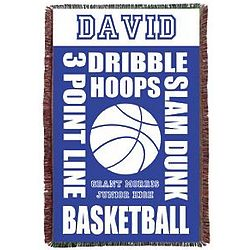 Personalized Basketball School Colors Throw