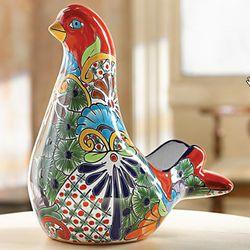 Talavera-Style Dove of Peace Planter