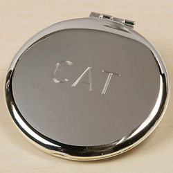 Slver Personalized Round Compact Mirror
