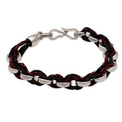 Men's One Path Sterling Silver and Leather Bracelet