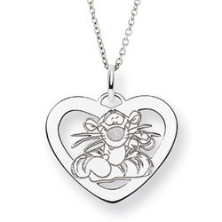 Sterling Silver Tigger Heart Pendant Necklace