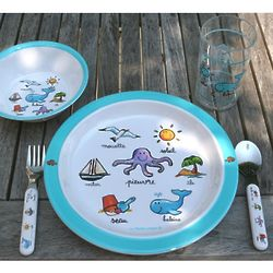 Kids Melamine Ocean Lunch Set