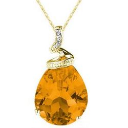 Pear Shaped Citrine & Diamond Accent Pendant in 10K Yellow Gold