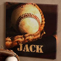 Baseball Star Personalized Canvas Art