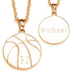 Engraved Basketball Pendant Necklace