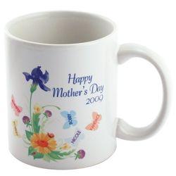 Engraved Butterflies & Flowers Coffee Mug