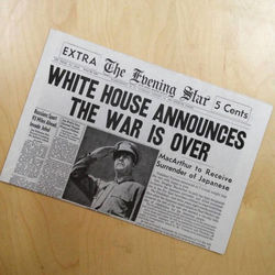 World War Two Ends Historical Newspaper