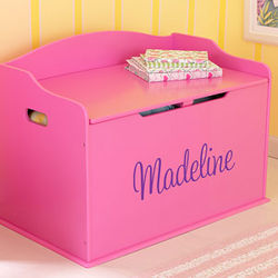 Personalized Pink Wood Toy Box