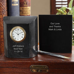 Personalized Marble Desk Clock for Groomsman