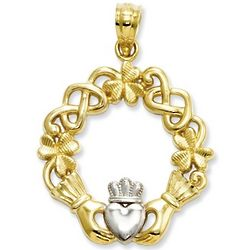 Textured 14K Gold Claddagh Pendant with White Heart