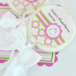Personalized Pink Cake Themed Lollipop Favors