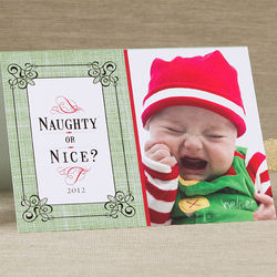 Naughty or Nice Personalized Photo Christmas Card