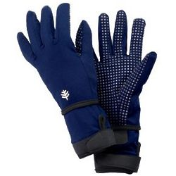 Navy Full Finger Aqua Gloves UPF 50+ Sun Protection