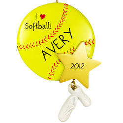 Personalized Softball Ornament with Star Dangling Shoes