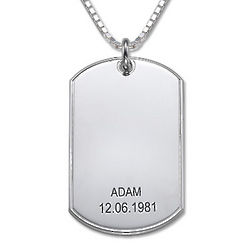 Sterling Silver Personalized Dog Tag Necklace