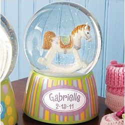 Personalized Musical Rocking Horse Glitter Dome