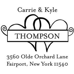 Twin Hearts Personalized Address Stamp