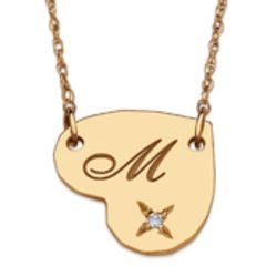 10K Gold Initial and Diamond Heart Necklace